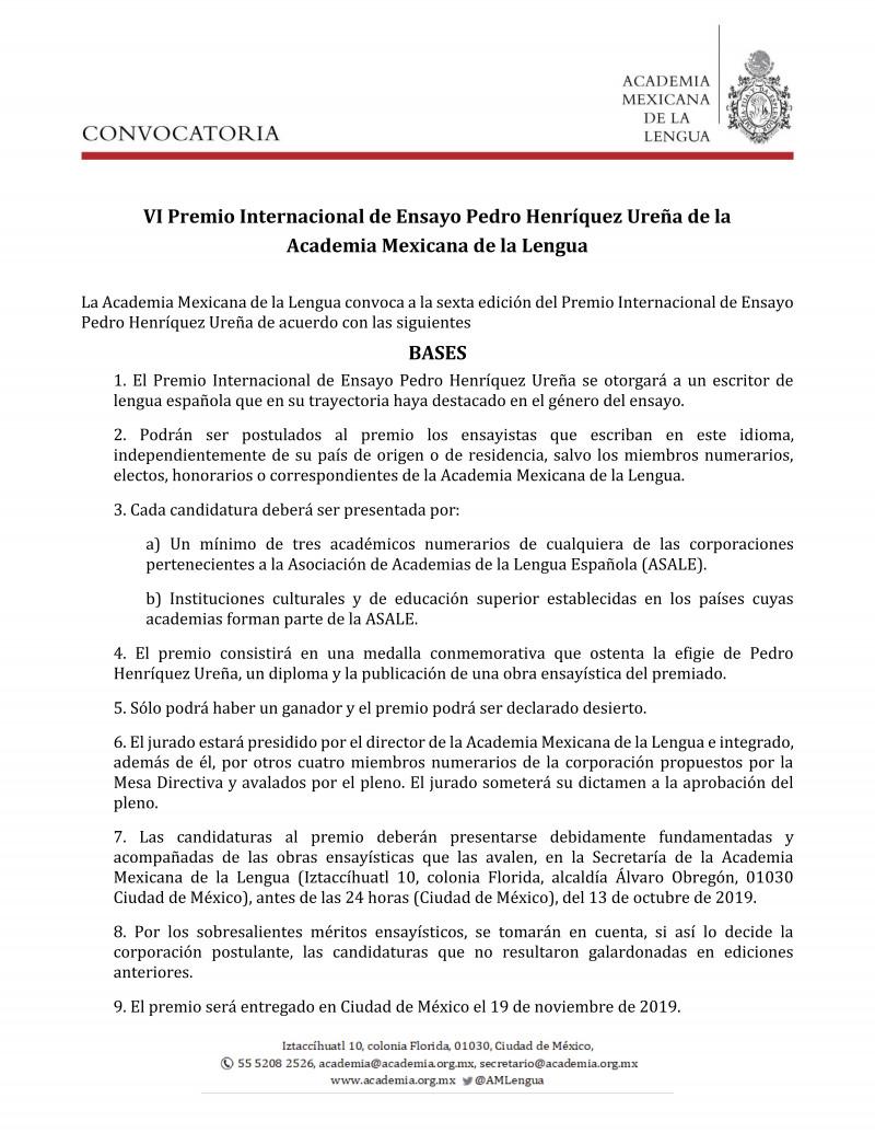 Convocatoria al VI Premio Internacional Pedro Henríquez Ureña